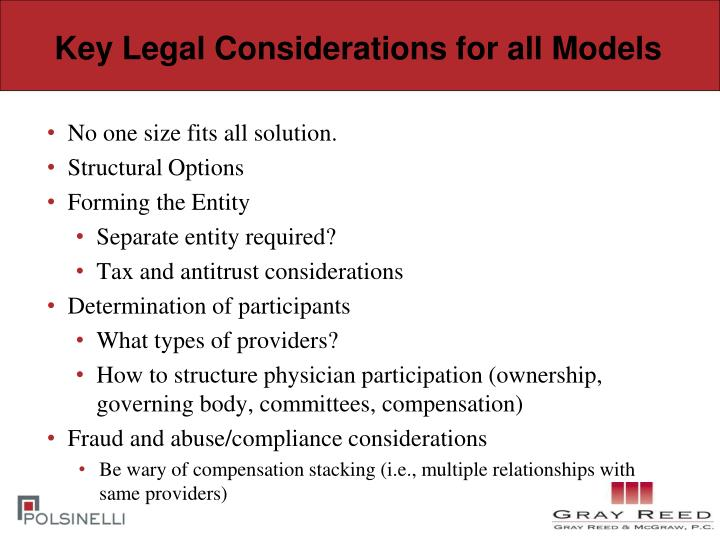 Key Legal Considerations for all Models