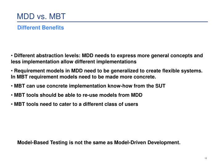 MDD vs. MBT
