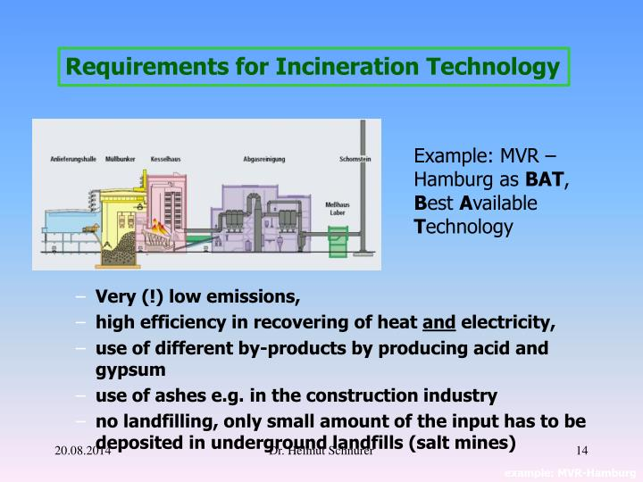 Requirements for Incineration Technology
