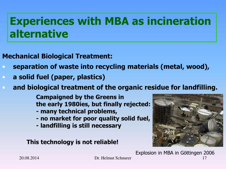 Experiences with MBA as incineration alternative
