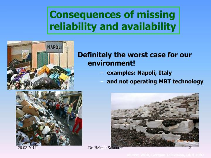 Consequences of missing reliability and availability