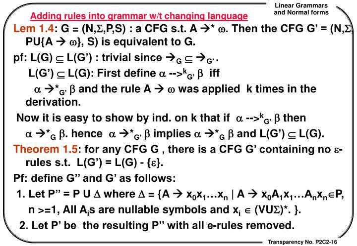 Adding rules into grammar w/t changing language