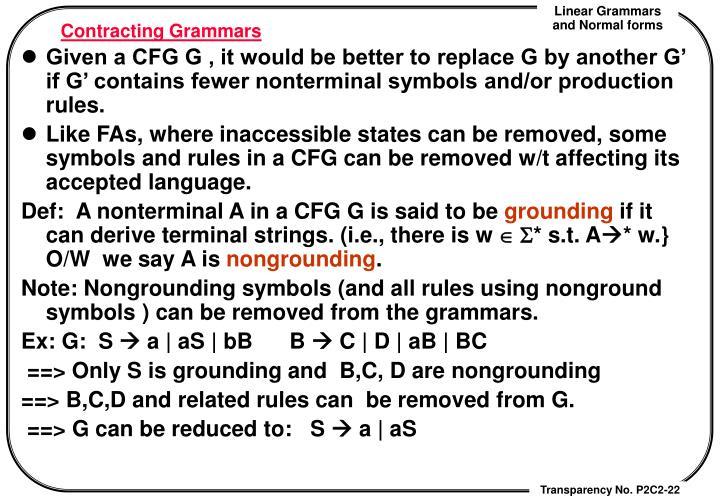 Contracting Grammars