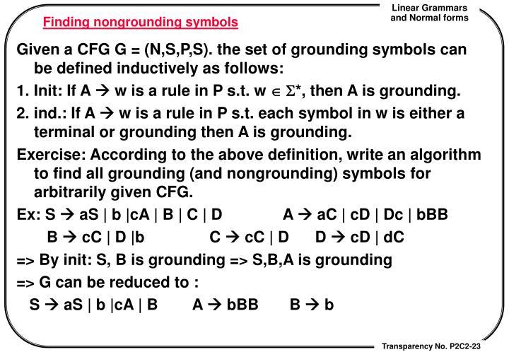Finding nongrounding symbols