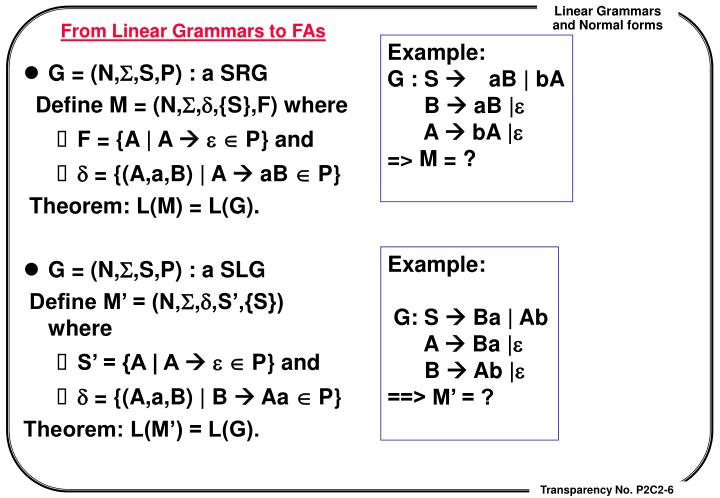 From Linear Grammars to FAs