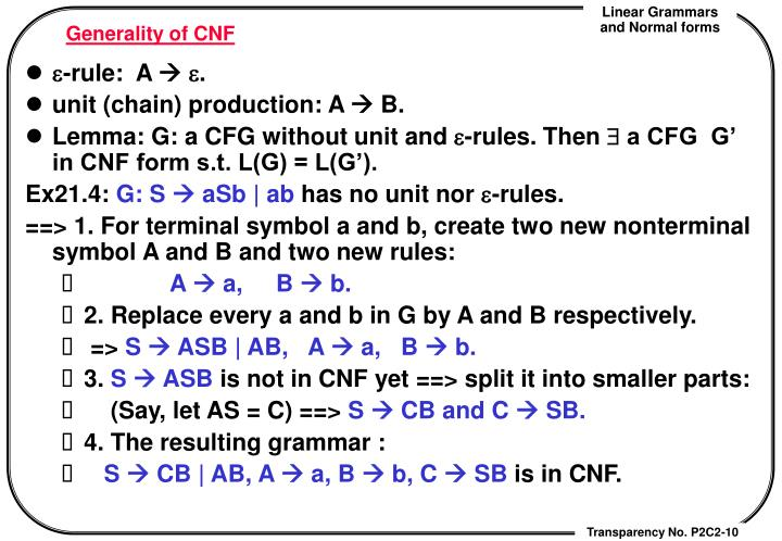 Generality of CNF