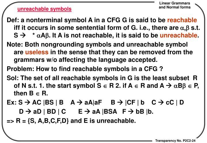 unreachable symbols