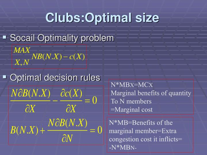 Clubs:Optimal size