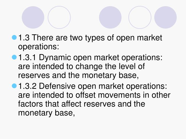 1.3 There are two types of open market operations: