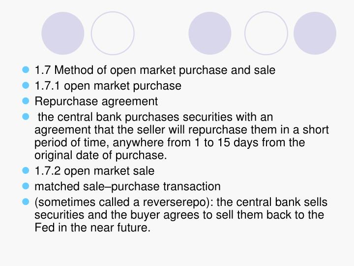 1.7 Method of open market purchase and sale