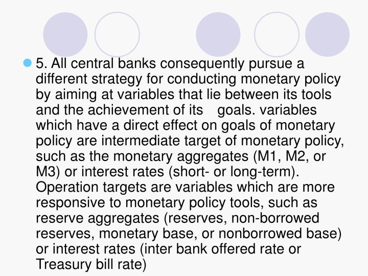 5. All central banks consequently pursue a different strategy for conducting monetary policy by aiming at variables that lie between its tools and the achievement of its