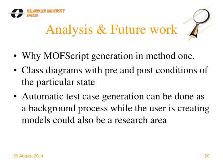 Analysis & Future work