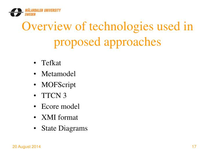 Overview of technologies used in proposed approaches