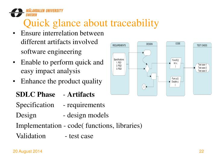 Quick glance about traceability