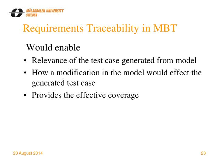 Requirements Traceability in MBT