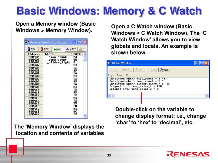 Basic Windows: Memory & C Watch