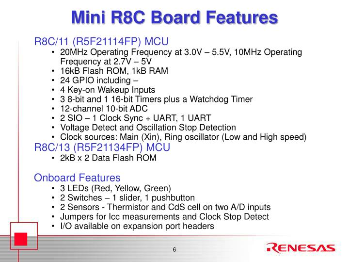 Mini R8C Board Features
