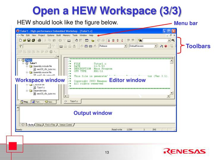 Open a HEW Workspace (3/3)