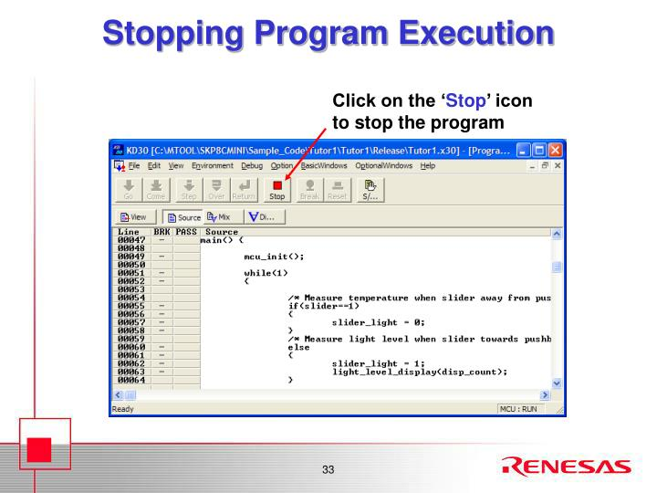 Stopping Program Execution