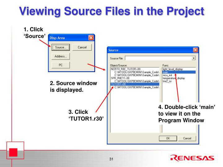 Viewing Source Files in the Project