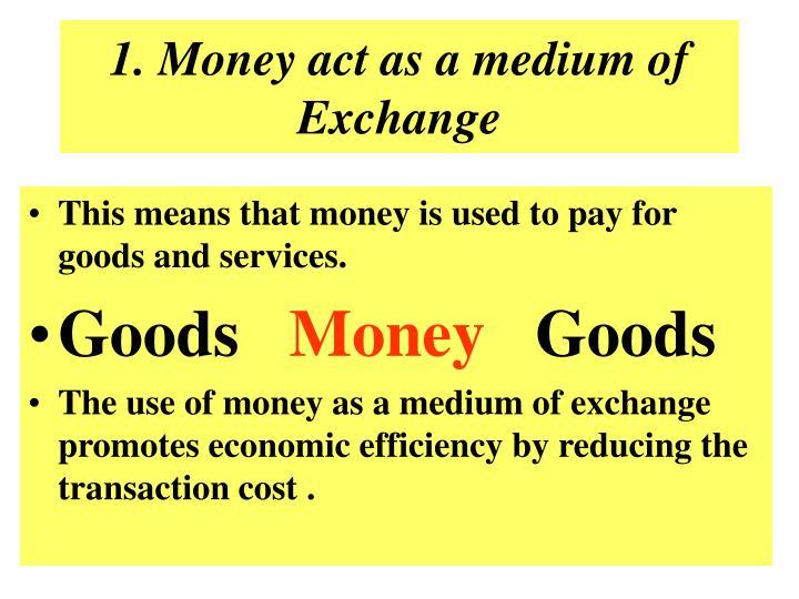 1. Money act as a medium of Exchange