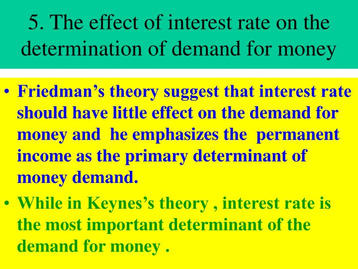 5. The effect of interest rate on the determination of demand for money