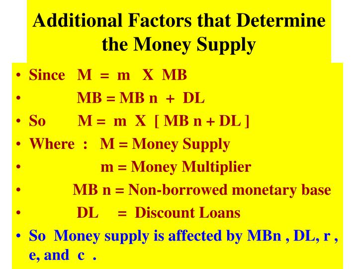 Additional Factors that Determine the Money Supply