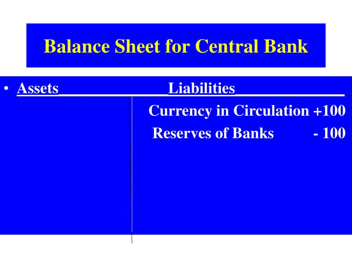 Balance Sheet for Central Bank