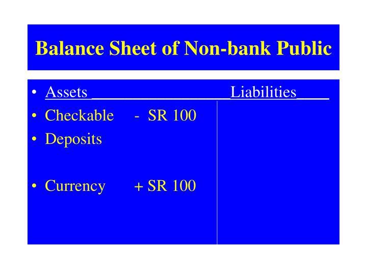 Balance Sheet of Non-bank Public