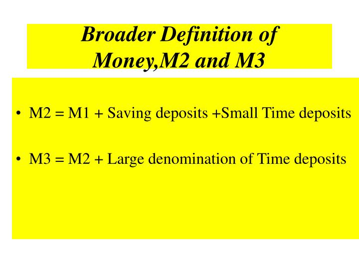 Broader Definition of Money,M2 and M3