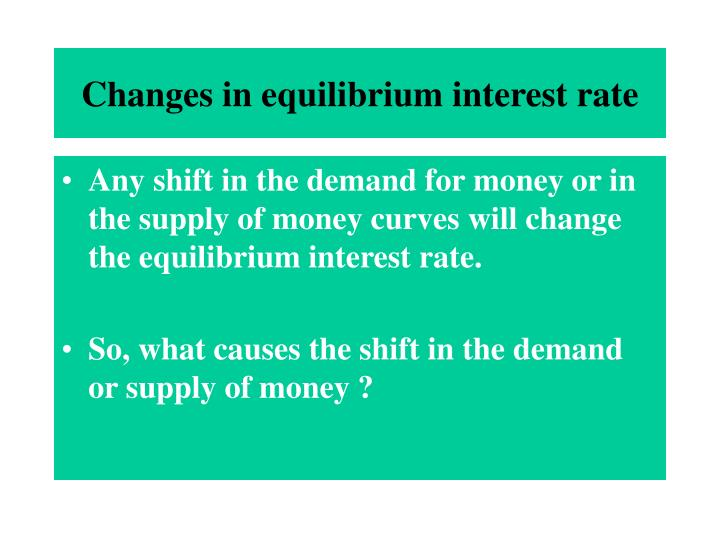 Changes in equilibrium interest rate