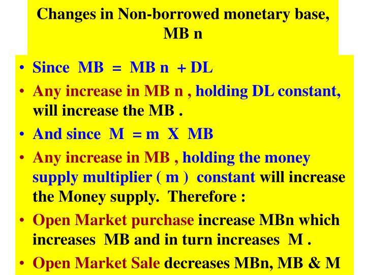 Changes in Non-borrowed monetary base, MB n