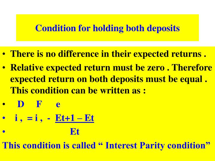 Condition for holding both deposits