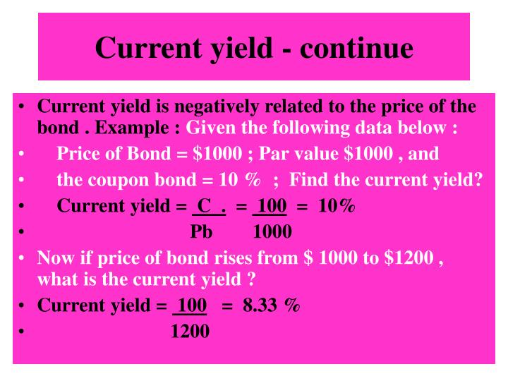 Current yield - continue
