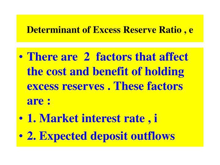 Determinant of Excess Reserve Ratio , e