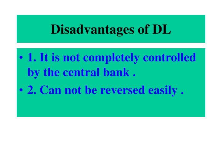 Disadvantages of DL