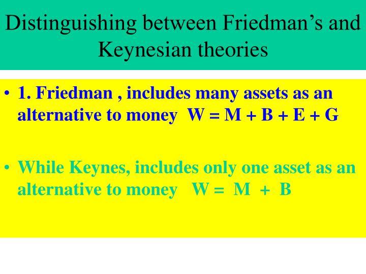 Distinguishing between Friedman's and Keynesian theories