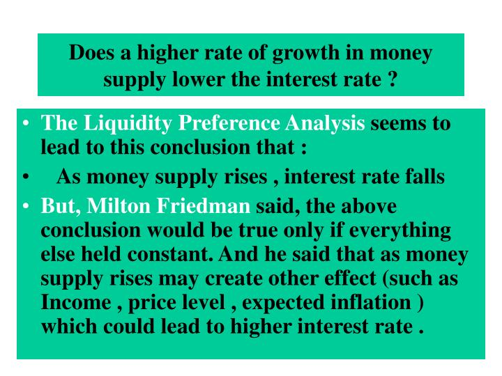 Does a higher rate of growth in money supply lower the interest rate ?