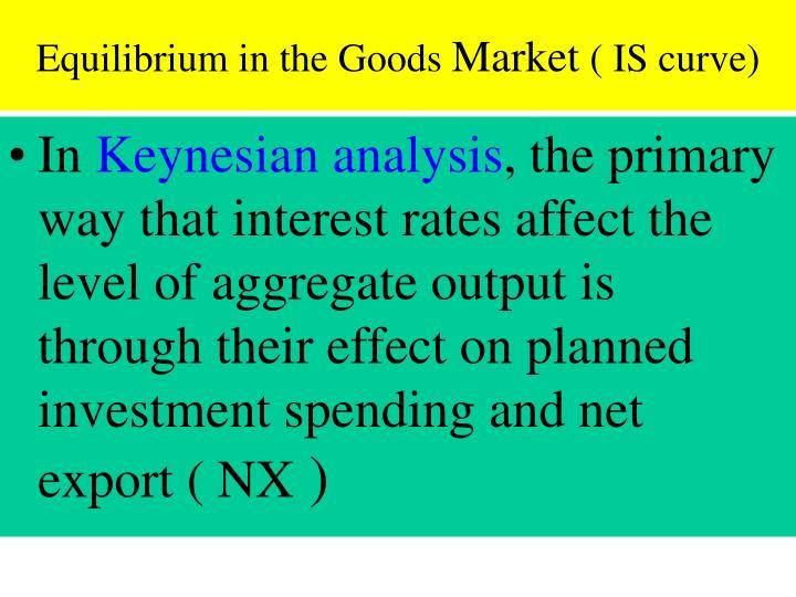 Equilibrium in the Goods