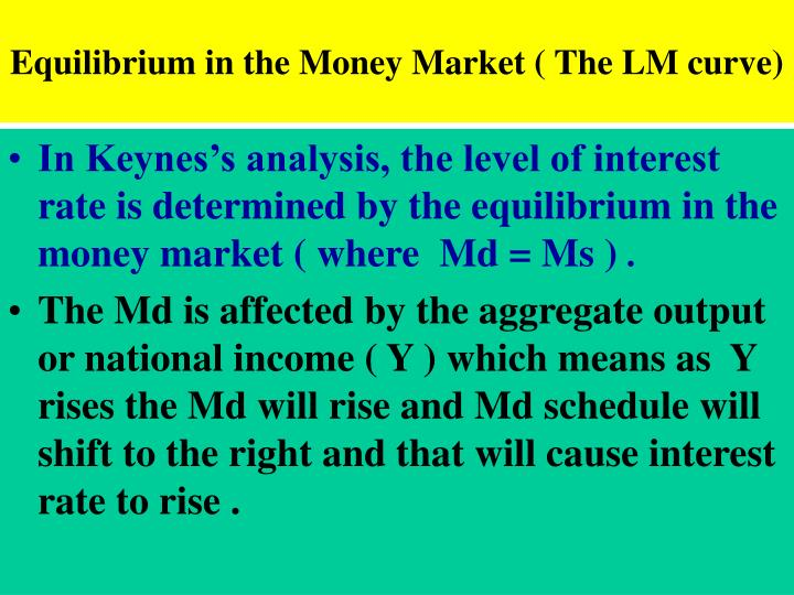 Equilibrium in the Money Market ( The LM curve)