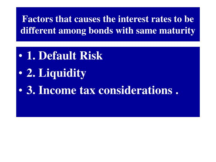 Factors that causes the interest rates to be different among bonds with same maturity