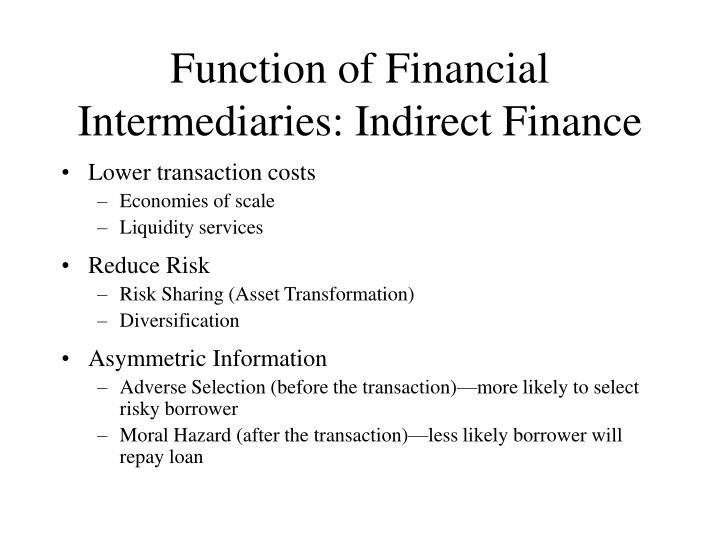 Function of Financial Intermediaries: Indirect Finance