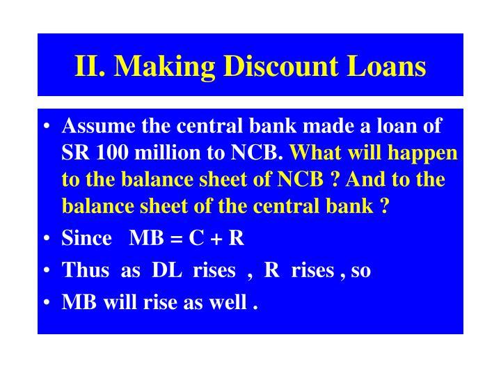 II. Making Discount Loans