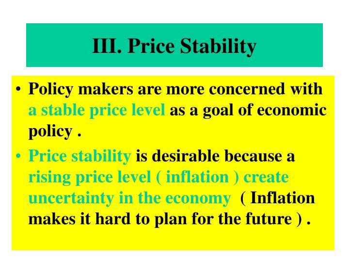 III. Price Stability