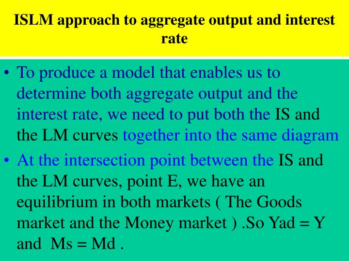 ISLM approach to aggregate output and interest rate