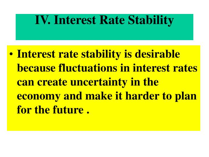 IV. Interest Rate Stability