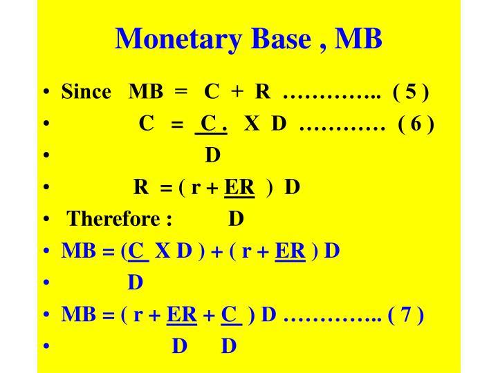 Monetary Base , MB