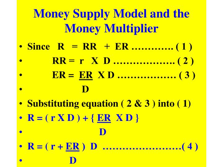 Money Supply Model and the Money Multiplier