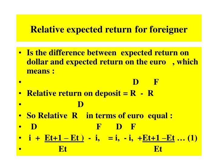 Relative expected return