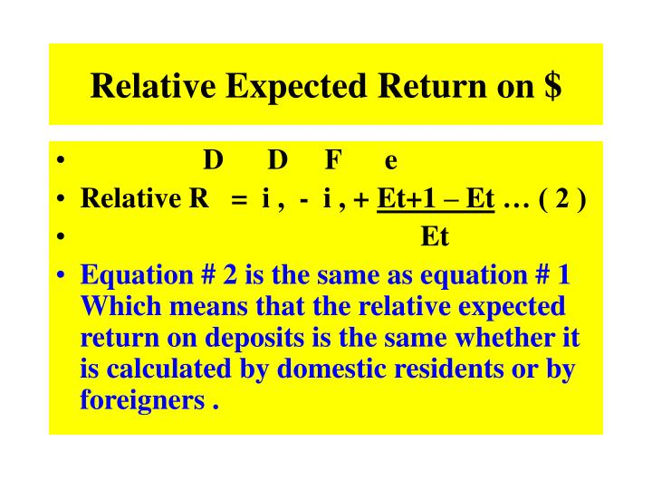 Relative Expected Return on $